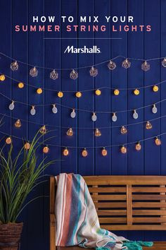 How to mix your summer string lights. Look for varying styles from classic bulbs to fun shapes — think pineapples, diamonds and geometric globes. Hang one of each strand and string them inside or out for a soft summer glow. Visit Marshalls today and check out our summer selection of fun string lights!