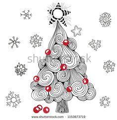 Christmas Tree Zentangle, Christmas Doodles, Christmas Card Crafts, Christmas Cards To Make, Christmas Love, Xmas Cards, Holiday Crafts, Dibujos Zentangle Art, Zentangle Drawings