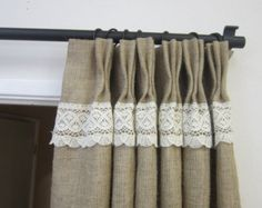 Crochet LacePinch pleat panels /Rustic decor/Pinch Pleat Burlap drapes/Burlap curtains/Burlap tie backs/Back to school/Decor and Housewares