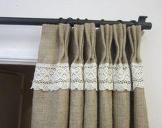 Crochet LacePinch pleat panels /Rustic decor/Pinch Pleat Burlap drapes ...