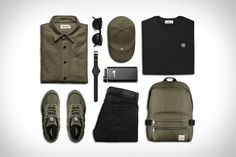 Field Garb    Taylor Stitch Mechanic Shirt / $100. New Balance Covert Green Sneakers / $175. Oliver Peoples O'Malley Sunglasses / $492. Timex Navi Harbor Watch / $140....