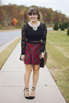 plaid skirt + lace crop