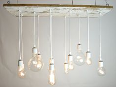 White Texan Barnwood Chandelier with edison bulbs