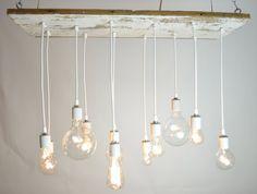 White Texan Barnwood Chandelier with edison bulbs