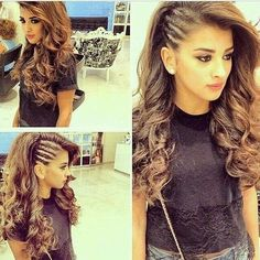 Twist (cornrows look alike) side with the rest of the hair curled. lily wants this hairdo. Top Hairstyles, Hairstyles For Round Faces, Pretty Hairstyles, Latest Hairstyles, Evening Hairstyles, Wedding Hairstyles, Braids With Curls Hairstyles, Summer Hairstyles, Braids And Curls
