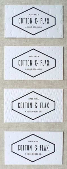 New Business Cards and Hangtags | Cotton & Flax