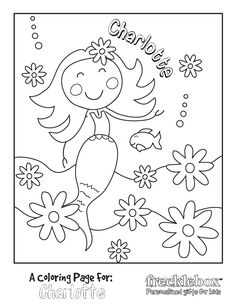 Free custom coloring pages!  Char will love this mermaid picture with her name <3