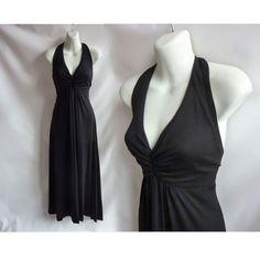 Vintage 70s Dress Size S Black Disco Strappy Halter Tango by jdbok