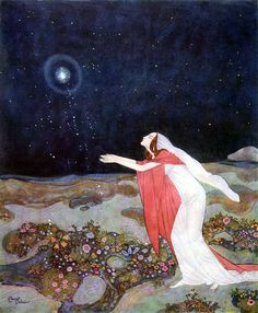 The light had escaped from her dying hands, from Stealers of Light - by Edmund Dulac #art #illustration