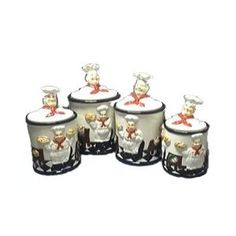 Fat Chef Bistro Kitchen Decor, Fat Chef Kitchen Decor, Kitchen Decor Themes, Kitchen Art, Kitchen Ideas, Canister Sets, Canisters, Chef Pictures, Polymer Clay Figures