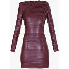 Balmain Pleated leather mini dress