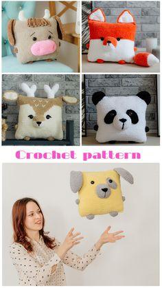 Crochet Pillow Pattern, Crochet Fox, Granny Square Crochet Pattern, Crochet Bebe, Crochet Animals, Diy Crochet, Crochet Crafts, Crochet Projects, Crochet Animal Patterns