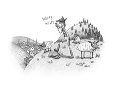 The Boy Who Cried Wolf illustration by illustrator Emma Allen. Pencil, graphite and carbon on paper. Emma Allen, Wolf Illustration, Graphite, Illustrator, Pencil, Sketch, Diagram, Paper, Art