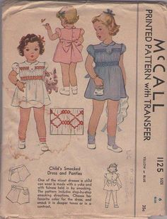 MOMSPatterns Vintage Sewing Patterns - McCall's 1125 Vintage 40's Sewing Pattern PRETTY Shirley Temple Good Ship Lollipop Style Girls Puff Sleeve, Tie Back Smocked School Dress, Tap Panties Shorts, Smocking Transfer Size 6