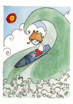 Scivolare sulle onde by IreneMontano #childrenillustration #littleboy #surf #ridinggiants #wavesocean