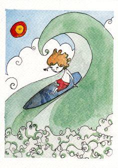 Scivolare sulle onde by IreneMontano #childrenillustration #littleboy #surf #ridinggiants #wavesocean