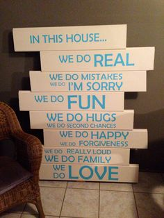 In this house wooden sign, family love