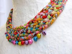 Multicolored braided fabric scarf necklace with bells