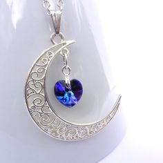 Half Moon Pendant with Swarovski Heart Charm, Filigree Moon Necklace, Purple Blue Crystal Heart, Crescent Moon Jewellery, Women's Jewellery