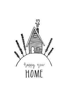 Handmade postcards by Studio Keer www. Doodle Drawings, Doodle Art, Brush Lettering, Hand Lettering, Inmobiliaria Ideas, New Home Quotes, New Home Cards, Happy New Home, Calligraphy Cards