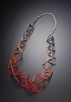 Geometric Jewellery - necklace with 3D geometric structure colour gradient detail; contemporary jewelry design // Meghann Jones #JewelryDesign