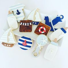 Nautical Baby Shower Sugar Cookies with Fondant Toppers by CUPCAKES AND CONFETTI Instagram: @cupcakesandconfetti1