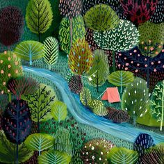 I'm surrounded by red rocks this weekend, but I wouldn't mind being along this river, either! #Illustration by @jane_newland