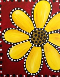 This fun daisy will add a pop of color to your life! This painting is easy breezy with plenty of room for creativity!