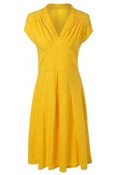 $24.26 Summer Ruched Chest Swing Dress - Yellow