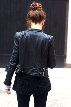 black leather + topknot