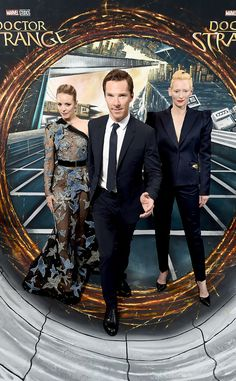 Rachel McAdams, Benedict Cumberbatch & Tilda Swinton from The Big Picture: Today's Hot Pics  The threesome make us do a double take during the Doctor Strange fan screening in London.