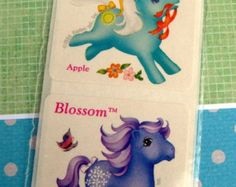 Vintage 80s My Little Pony Scratch n Sniff Stickers (Apple Scented) Unicorn and Pegasus (Sale)