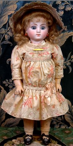 """Jules Nicholas Steiner (1832-1902) — 15 1/2"""" Bebe Series C with Smiling Expression In Antique Ensemble  (600x1201)"""