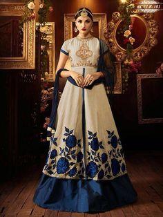 Georgette White & Blue Latest New Designer anarkali suit