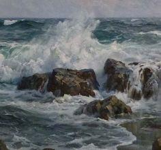 Charles Vickery (title unknown), oil on canvas Ocean Art, Ocean Waves, Landscape Art, Landscape Paintings, Sea Pictures, Boat Art, Ocean Scenes, Coastal Art, Beginner Painting