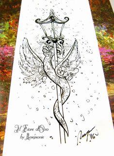Dragon illustration  Ice Dragon with lantern in the di ilFioredOro
