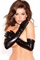 Wet-Look Long Gloves. You've been warned - these gloves will have him begging for your touch! Pair these seductive wet-look gloves with a smile and you've got all you need for a sexy night in. Women Lingerie, Sexy Lingerie, Leather Lingerie, Black Leather Gloves, Patent Leather, Leather Pants, Long Gloves, Thing 1, Vinyls