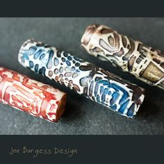Rustic style tube beads Polymer clay beads. by JBDRusticOrganic