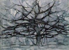Piet Mondrian, The Gray Tree, Gemeentemuseum Den Haag, The Hague Famous Art Paintings, Famous Artwork, Tree Paintings, Piet Mondrian Artwork, Art Et Design, Gray Tree, Dutch Painters, Dutch Artists, Georges Braque
