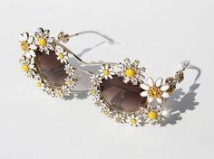 Dolce & Gabbana Metal Framed Daisy Crystal Sunglasses