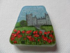 Kilkenny Castle Ireland - Acrylic miniature painting on Scottish sea glass by ShePaintsSeaglass on Etsy