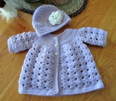 Handmade Crochet Baby Sweater and Hat/Baby by TheComfyBaby on Etsy