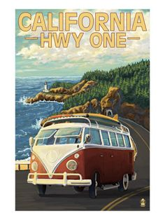 California Highway One Coast VW Van Premium Poster- a vacation I have wanted to do for years...drive hwy 1 and along on the beaches