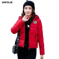 2017 Winter Jacket Women Coat Warm Parkas Short Hooded Cotton-padded Coats Solid Color Basic Wadded Jacket Female - Good Spark Shop Good Spark Shop