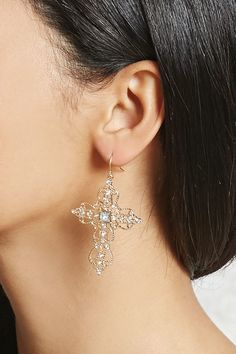 Product Name:Rhinestone Cross Drop Earrings, Category:ACC, Price:5.9