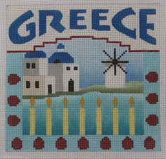 Denise DeRusha Designs Greece Hand Painted Needlepoint Canvas 18 count