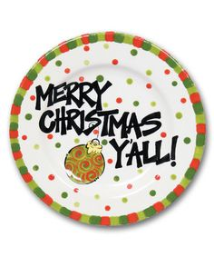 u0027Merry Christmas Yu0027All!u0027 Plate  sc 1 st  Pinterest & Hand Painted Ceramic Christmas Plate - Every Good and Perfect Gift ...