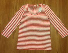 J.Crew L Orange & White Striped Long Cotton T-Shirt Tee Lightweight Zip Back NWT