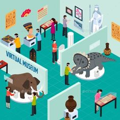 Virtual Travel Landmarks Museum Composition