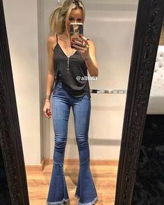 "1a35ebf6c Fabiana Valentini on Instagram  ""Regata Suede  preta  + calça jeans Flare  recorte desfiada 💙 Compras online  www.allfafit.com.br 📲WhatsApp (11)  98203-6155 ..."